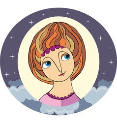 Girl Portret Circle vector image vector image