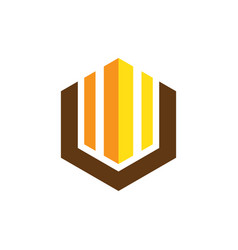 hexagon business finance logo vector image