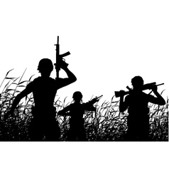 Soldier patrol silhouette vector