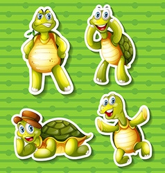 Turtle in four different poses vector image vector image
