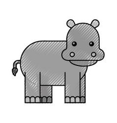 Wild hippopotamus isolated icon vector