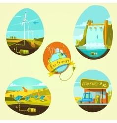Ecological energy cartoon set vector image