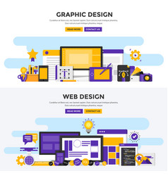 flat design concept banners - graphic and web vector image vector image