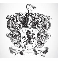 lion shield vector image vector image