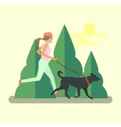 pretty girl running with a dog vector image vector image