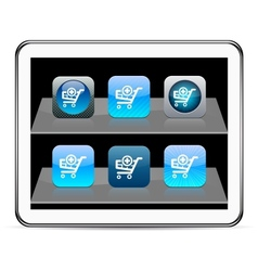Add to cart blue app icons vector image vector image