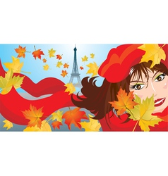 Cute woman face with red scarf and beret vector image vector image