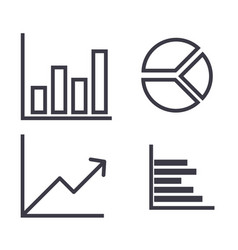 graphs line icon sign on vector image vector image