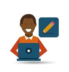 man afroamerican using laptop write icon vector image vector image