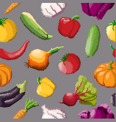 seamless pattern of pixel vegetables on vector image