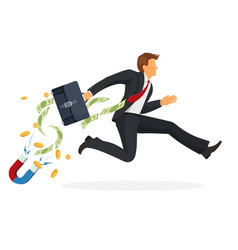 businessman in suit runs fast with leather vector image