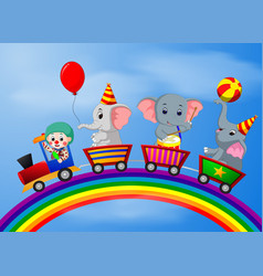 clown and elephant on the train vector image