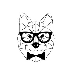 Dog akito inu in glasses and a bow tie geometric vector
