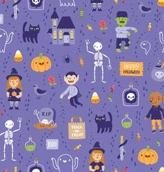 Purple halloween seamless super pattern vector image vector image