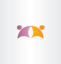 purple orange business people partners icon logo vector image vector image