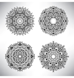 Set of floral elements Lace flowers vector image