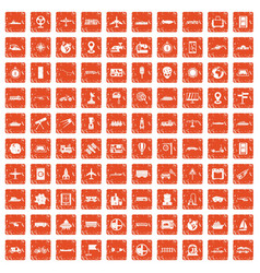 100 technology icons set grunge orange vector