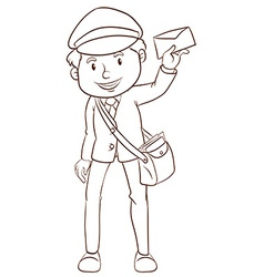 A simple drawing of a postman vector image