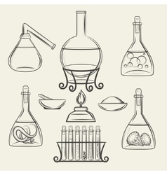 Alchemical vessels or vintage lab equipment vector