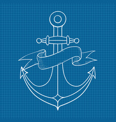 anchor with ribbon banner outline drawing hand vector image