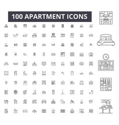 apartment editable line icons 100 set vector image