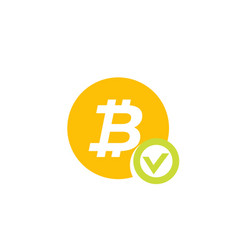 approved bitcoin payment icon on white vector image