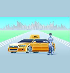 artificial intelligence taxi with robot driver vector image