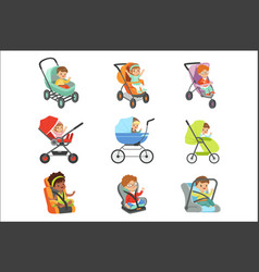 bacarriage set children transport colorful vector image