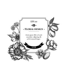 Badge design with black and white almond poppy vector