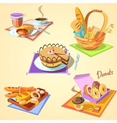 Bakery cartoon set vector
