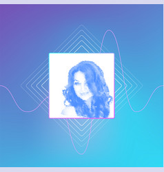 beautiful blue colored woman portrait with long vector image