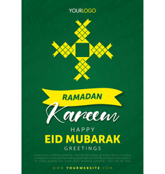 bright and bold green ramadan kareem eid mubarak vector image