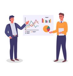 Businessmen presenting financial plan workers vector