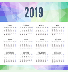 Calendar 2019 in spanish in modern style week vector