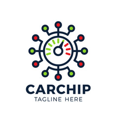 car speed chip technology logo template design vector image