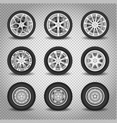 Car wheels set vector