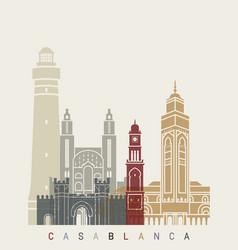Casablanca skyline poster vector