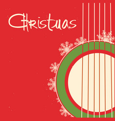 Christmas guitar red poster old background with vector