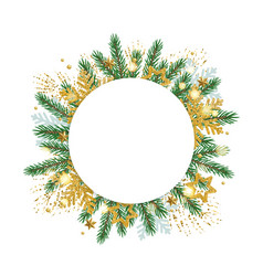 christmas round banner with fir branches and vector image