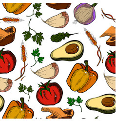 colored healthy food pattern vector image