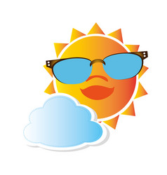 Colorful cartoon sun with glasses and cloud vector