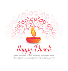 Diwali festival burning diya and mandala art vector