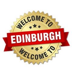 Edinburgh 3d gold badge with red ribbon vector