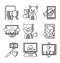 Flat line icons for selfie lifestyle vector image