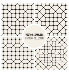 Four Seamless Black and White Geometric vector