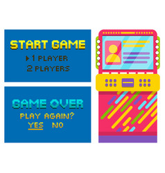 game over and start pixel vintage arcade machine vector image