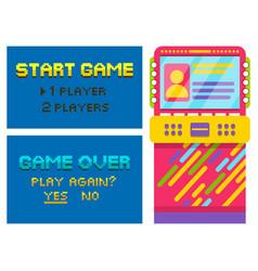 Game over and start pixel vintage arcade machine vector