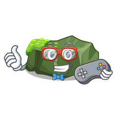 Gamer cartoon large stone covered with green moss vector