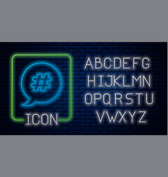 Glowing neon hashtag speech bubble icon isolated vector