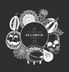 halloween design template hand drawn on chalk vector image